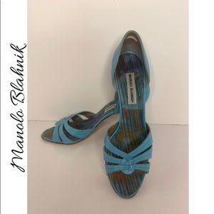 Manolo Blahnik Turquoise Leather Pumps